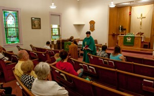 The Rev. Brenda Martin speaks to her congregation at St. James Evangelical Lutheran Church in Fairview Township on Sept. 2, 2012.